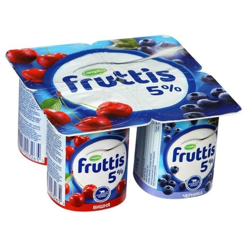 Йогурт FRUTTIS Слив лакомство Вишня Черника 5% 115 гр Campina РОССИЯ