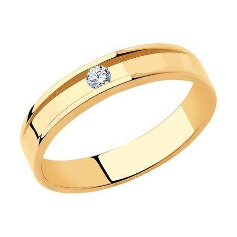 1111295-01 - Кольцо обручальное из золота с бриллиантом