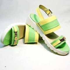 Женские сандалии из натуральной кожи Crisma 784 Yellow Green.