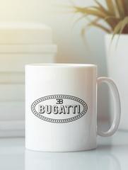 Кружка с эмблемой Bugatti (Бугатти) белая 004