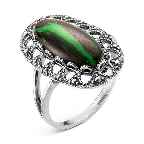 Кольцо с малахитом и серебрением