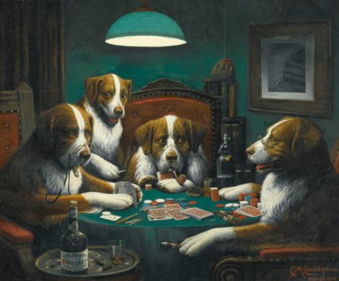 Алмазная Мозаика 40x50 Собаки играют в карты (арт. VR1009)
