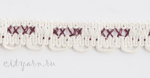 Тесьма декоративная с мережкой, цвет молочный с лиловым, RP8178-18/86, ширина 2 см, цена указана за 50 см