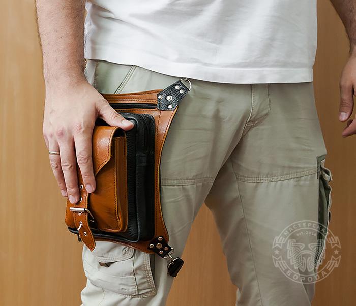BAG369-6 Крутая мужская сумка на бедро из натуральной кожи, ручная работа фото 09