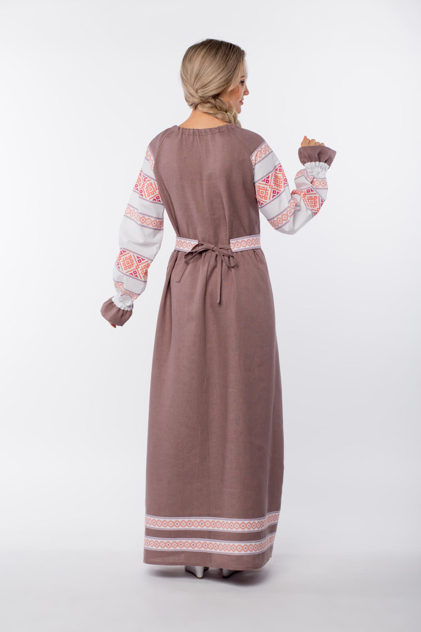 Платье льняное Родные берега вид сзади