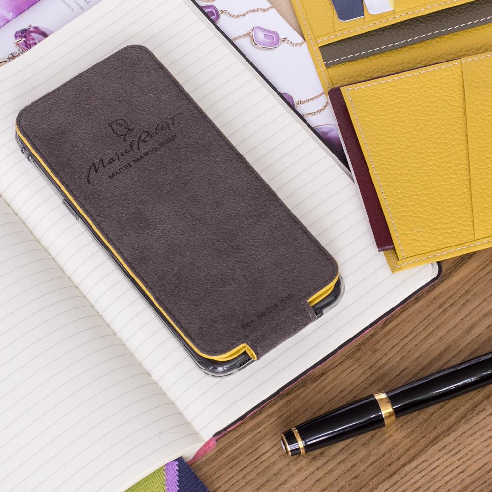 Чехол для Samsung Galaxy S9 Plus из натуральной кожи теленка, желтого цвета