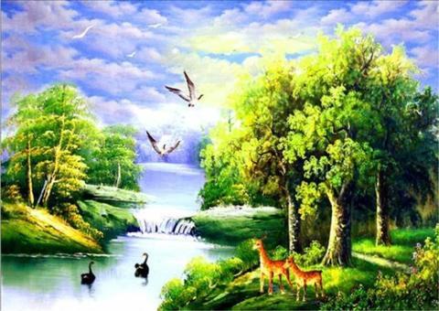 Алмазная Мозаика 38x28 Животный мир на воде (арт. K1731)