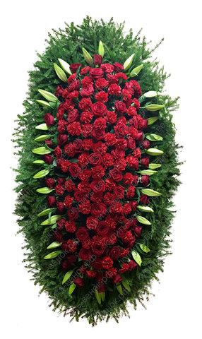 Траурный венок из живых цветов ВЖ 26 -180 см