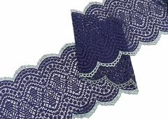 Эластичное кружево, 19,5 см, темно-синее, (Арт: EK-2517), м