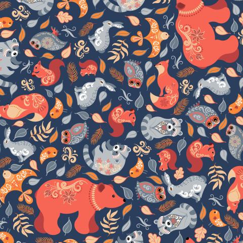 Лесные животные и птицы на синем фоне. (Дизайнер Irina Skaska)