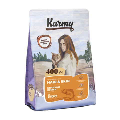 Karmy Hair & Skin Сухой корм для кошек для здоровья кожи и шерсти с лососем