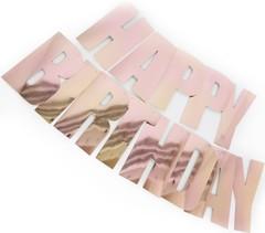 Гирлянда Happy Birthday, Розовое Золото, 20*160 см, 1 шт.