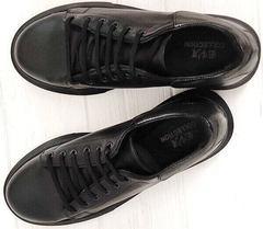 Черные кожаные кеды кроссовки черные женские EVA collection 0721 All Black.
