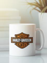 Кружка с рисунком Harley-Davidson (Харли-Дэвидсон) белая 003