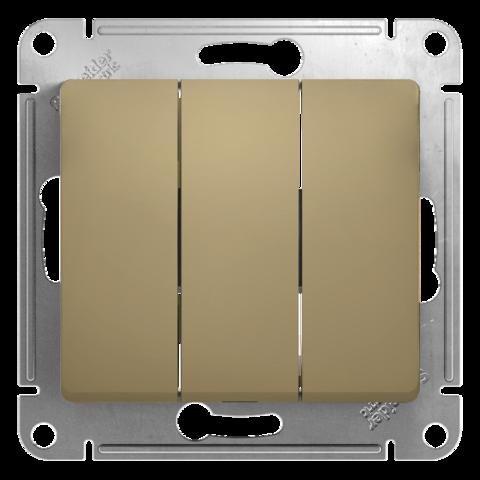 Выключатель трехклавишный, 10АХ. Цвет Титан. Schneider Electric Glossa. GSL000431