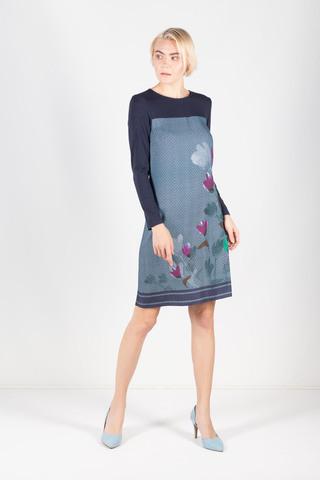 Фото синее платье из вискозы с орнаментом елочка и цветочным принтом - Платье З298-139 (1)