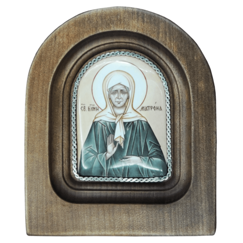 Икона финифть Блаженная Матрона Московская деревянная арка