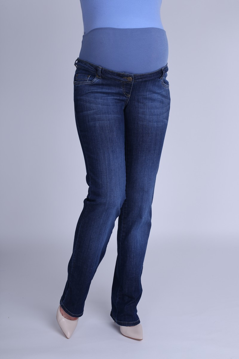 Фото джинсы для беременных, regular, широкий бандаж от магазина СкороМама, синий, размеры.