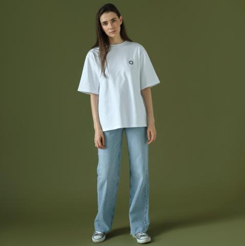 Комплект футболка белая с вышивкой Солнце (M/L)  + сумка