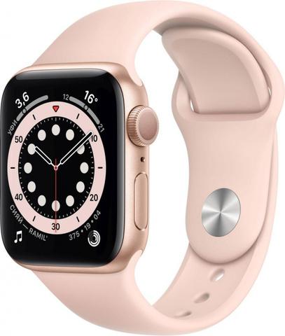 Умные часы Apple Watch Series 6, 40 мм, корпус из алюминия золотого цвета, спортивный ремешок