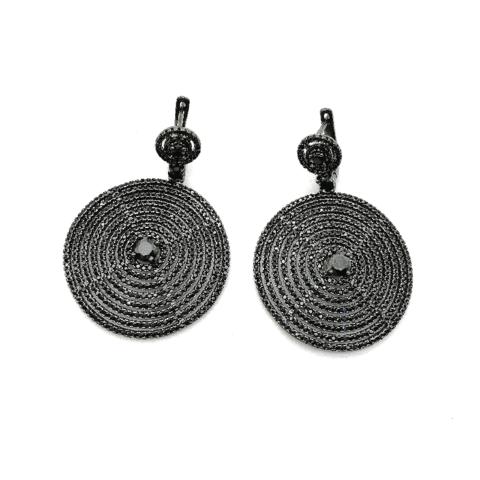 17017- Серьги-круги из черного серебра с микроцирконами