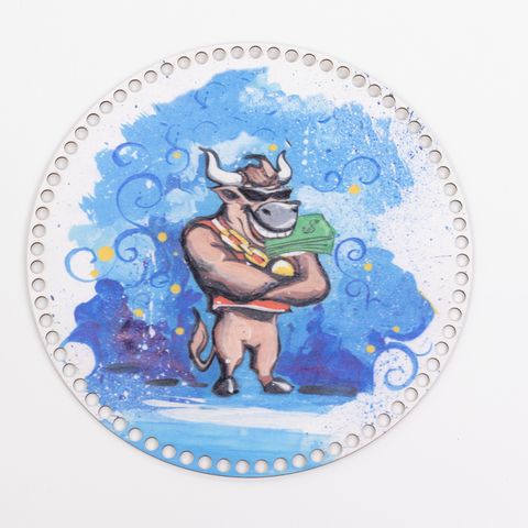 "Круглая заготовка с рисунком ""Символ 2021"" N3 30см из фанеры"