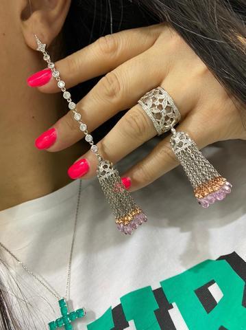 4632 - Серьги с кисточками из серебра 925 пробы с розовыми цирконами огранки бриолет