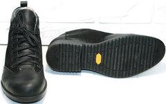 Классические зимние ботинки мужские кожаные с мехом Luciano Bellini 6057-58K Black Leathers & Nubuk.