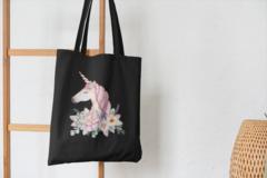 Сумка-шоппер с принтом Единорог (Unicorn) черная 001
