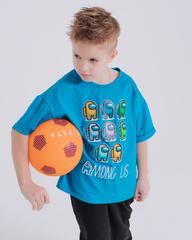Футболка AMONG US, цвет небесный