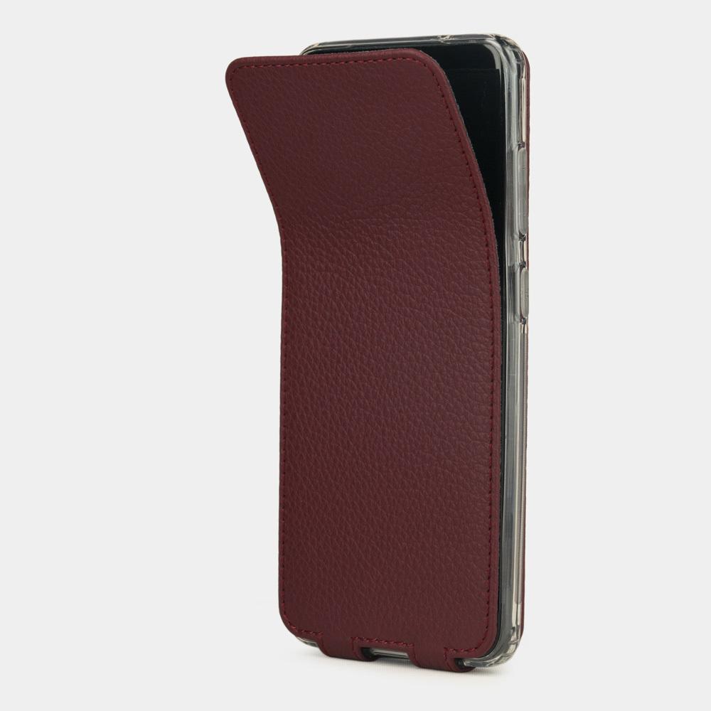 Чехол для Samsung Galaxy S20+ из натуральной кожи теленка, бордового цвета