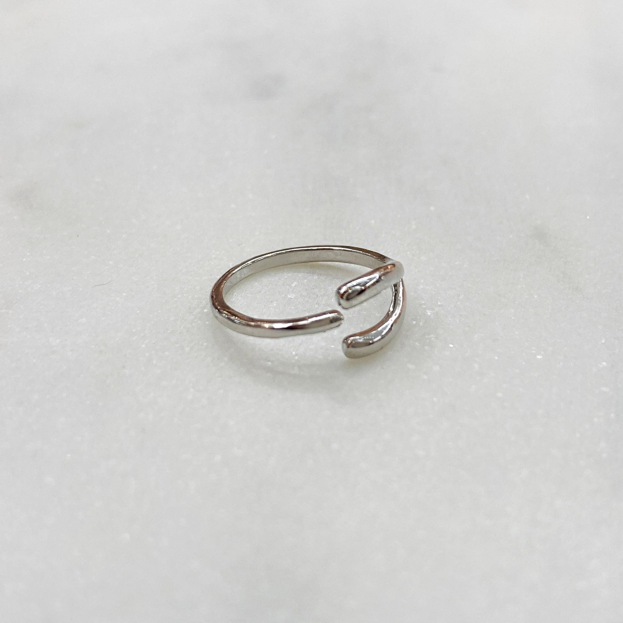 Кольцо на фалангу Галочка (серебристый)