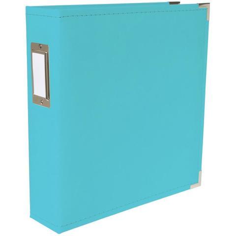 Папка на кольцах для фотографий  Project Life 22х28 см - экокожа. Цвет голубой. We R Classic Leather D-Ring Album  Aqua