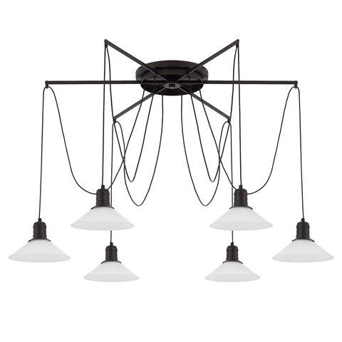 Люстра Паук 6 плафонов белое стекло/черный Citilux Эдисон