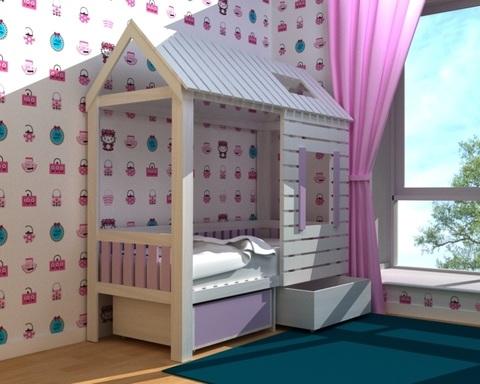 Кровать-домик АМИ-1 с ящиками левая 1700-700 /1808*1835*820/