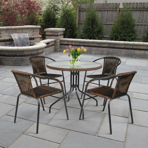 Комплект мебели для летнего кафе Николь-1A TLH-037AR3/080RR-D80 Cappuccino 4Pcs (4+1)