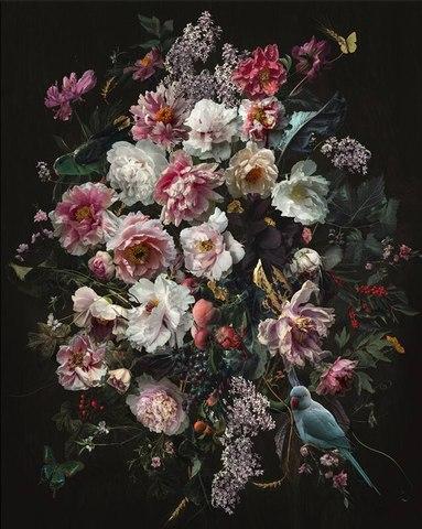 Алмазная Мозаика 40x50 Птица и цветы в темноте (арт. VR1013)