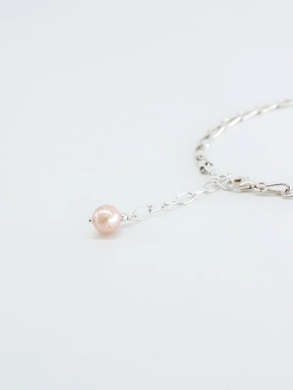 Браслет серебряный с розовой жемчужиной  оптом и в розницу