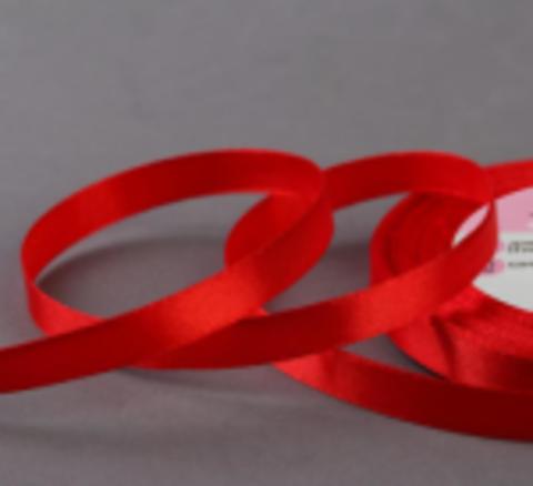 Лента атласная, цвет красный,10 мм*23±1м