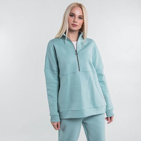 Warm sporty sweatshirt for women - Sea Blue