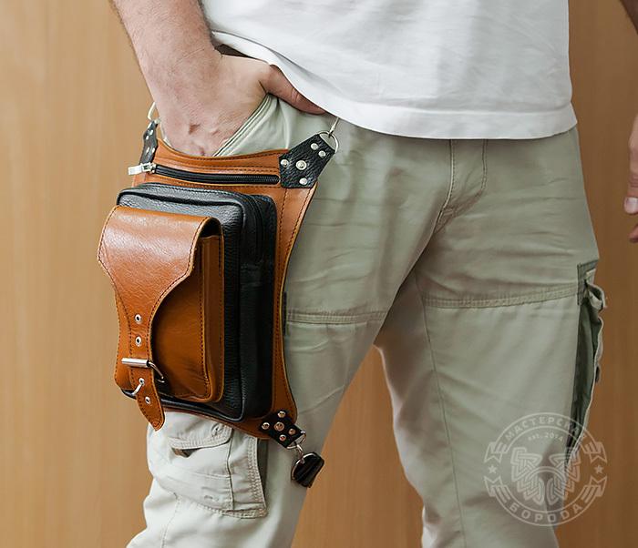 BAG369-6 Крутая мужская сумка на бедро из натуральной кожи, ручная работа фото 10