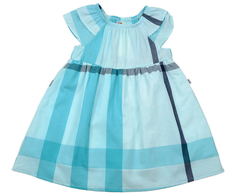Бирюзовое платье в клетку Mini-Maxi (арт.UD2610 (1))