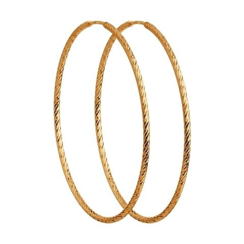 140140 - Серьги-конго Ø 35 мм из золота 585 пробы с алмазными гранями