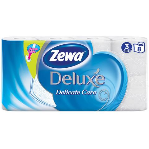 Бумага туалетная Zewa Deluxe 3-слойная белая (8 рулонов в упаковке)