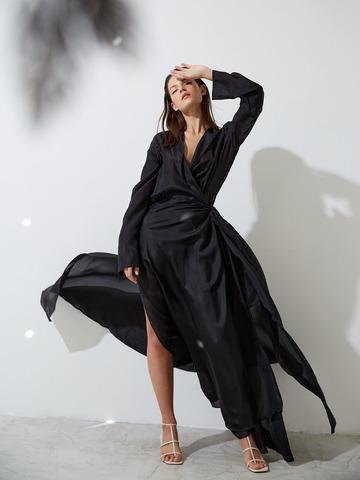 Платье на запах с комбинацией из  шелка черный