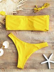 купальник раздельный бандо яркий желтый Yellow Bright 3