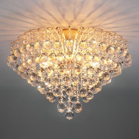 Люстра с хрусталем 3299/9 белый с золотом / прозрачный хрусталь