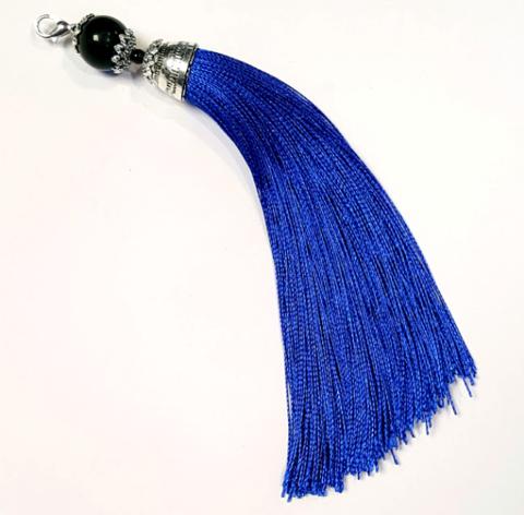 Кисточка с шапочкой и бусиной 15 см, синий