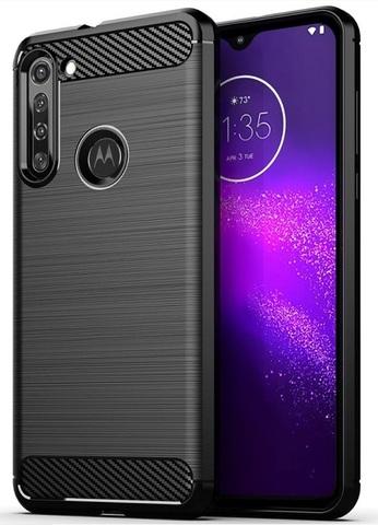 Мягкий защитный чехол в стиле карбон на Motorola G8, серия Carbon от Caseport