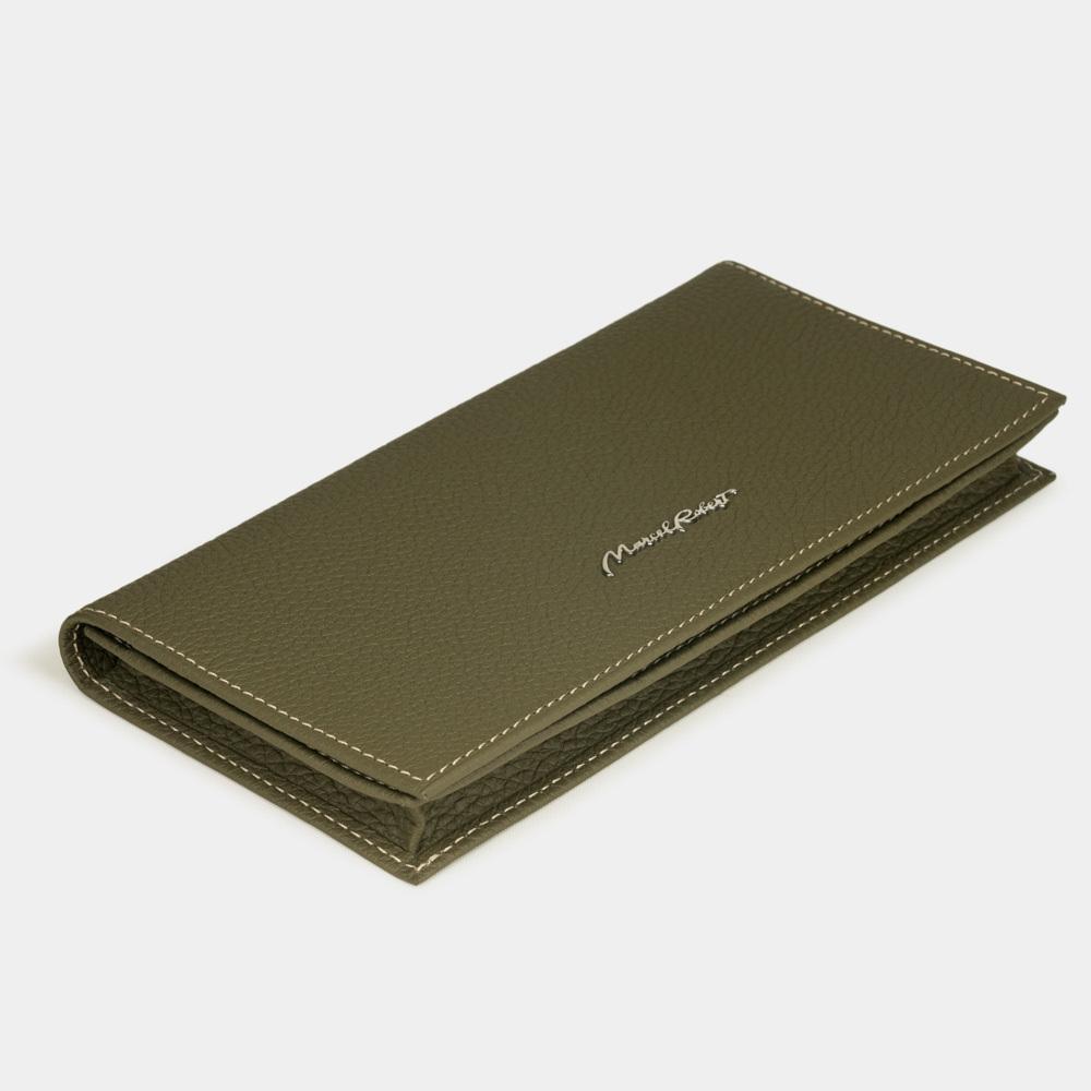 Длинный кошелек Lingot Easy из натуральной кожи теленка, зеленого цвета
